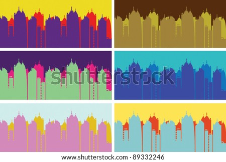 city skyline buildings vector set 4