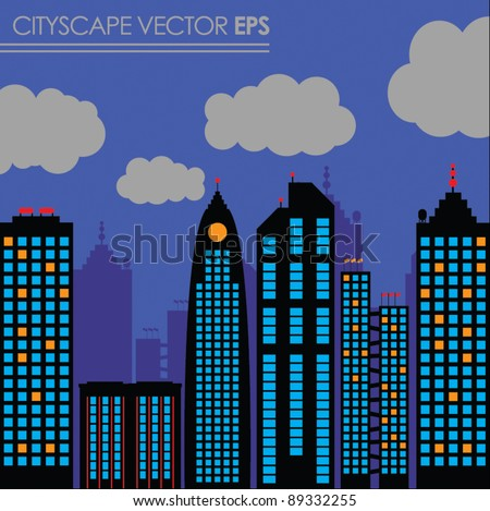 city skyline buildings vector set 2