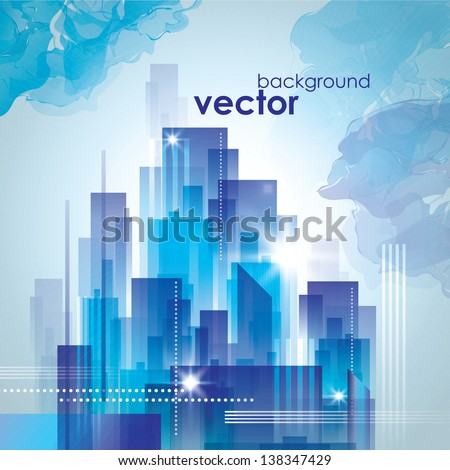 City skyline. Graphical urban cityscape - stock vector