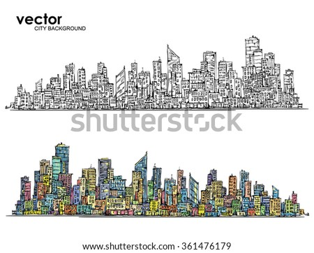 City Skyline. Hand drawn vector - stock vector