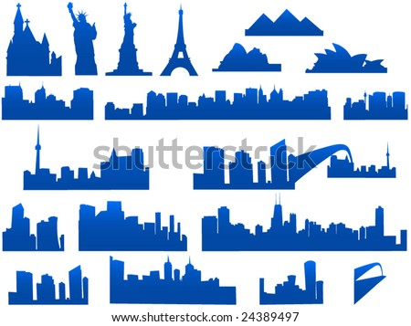 City skyline illustration - stock vector
