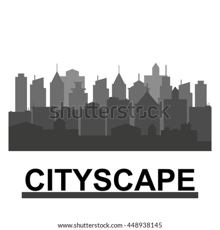City skyline in grey colors. Buildings silhouette cityscape. Big city streets. minimalistic style. Vector illustration - stock vector