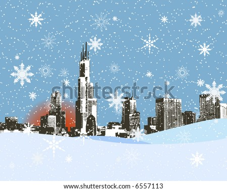 City skyline in the snowy winter, Vector background