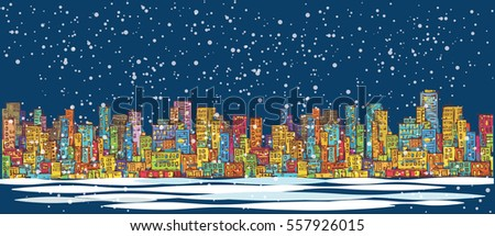 City skyline panorama, winter snow landscape at night, hand drawn cityscape