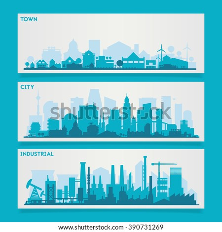 City Skyline Sets - stock vector