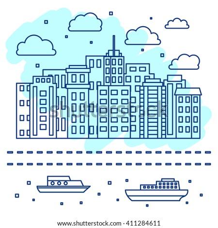 City skyline, urban landscape in linear style, vector illustration - stock vector