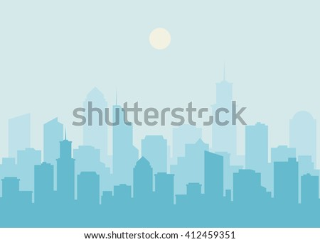 City skyline vector illustration. Urban landscape. Blue city silhouette. Cityscape in flat style. Modern city landscape. Cityscape backgrounds. Daytime city skyline.