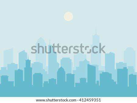 City skyline vector illustration. Urban landscape. Blue city silhouette. Cityscape in flat style. Modern city landscape. Cityscape backgrounds. Daytime city skyline. - stock vector