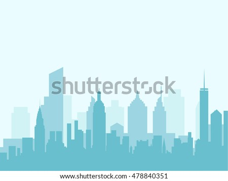 City skyline vector illustration. Urban landscape. Blue city silhouette. Cityscape in flat style. Modern city landscape. Cityscape backgrounds. Daytime city skyline. - stock vector