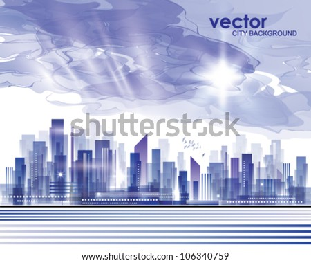City skyline with cloudy sunset - stock vector