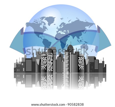 City skyline with earth background and arrows for international business - stock vector