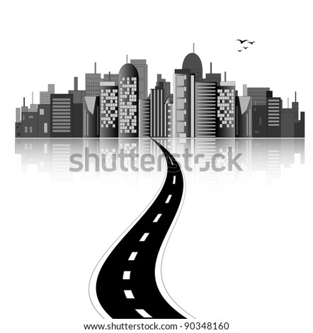 City skyline with road - stock vector