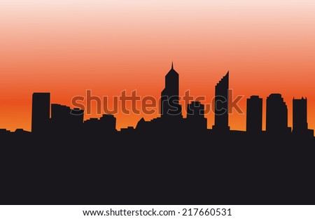 City Skyline With Sunset