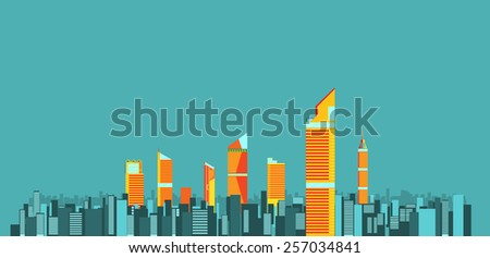 City skylines background vector illustration. flat city building. Up town flat infographic and design.
