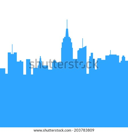 City Skylines Blue Silhouette on White Background. Vector Illustration. - stock vector