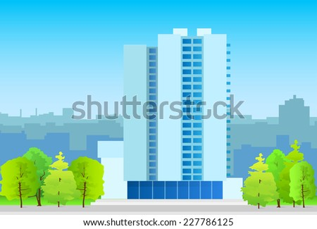 city skylines business office building, real estate silhouette icon blue illustration architecture modern building cityscape vector - stock vector