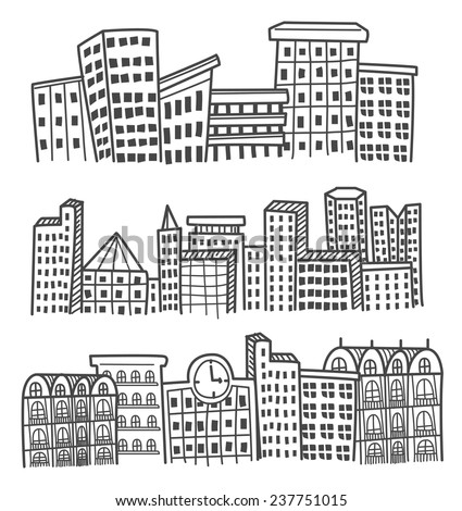 City skylines in doodle style - stock vector