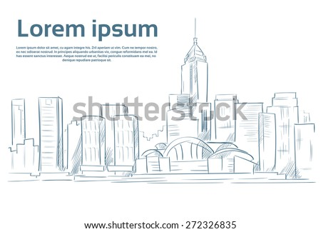 City Skyscraper Sketch View Cityscape Skyline Vector Illustration - stock vector