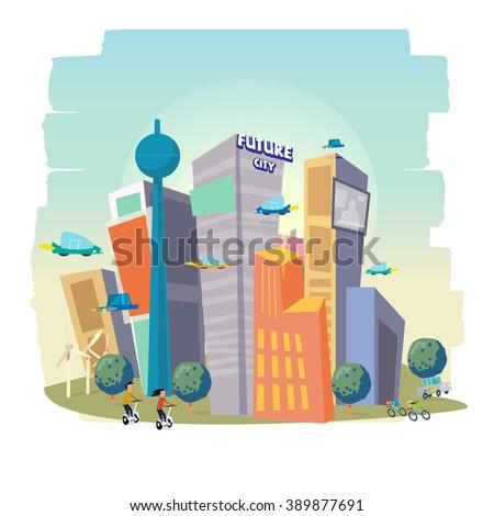 City Skyscraper View with modern building. future city concept - vector illustration - stock vector