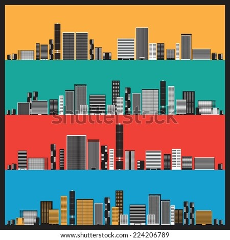 City Skyscrapers Landscape Colorful Background Vector  - stock vector