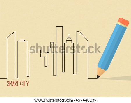 City skyscrapers skyline drawn with pencil over brown rough paper texture. Architectural design, smart city project concept