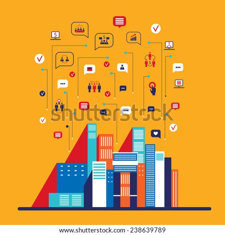 City social network infographic Modern flat design - stock vector