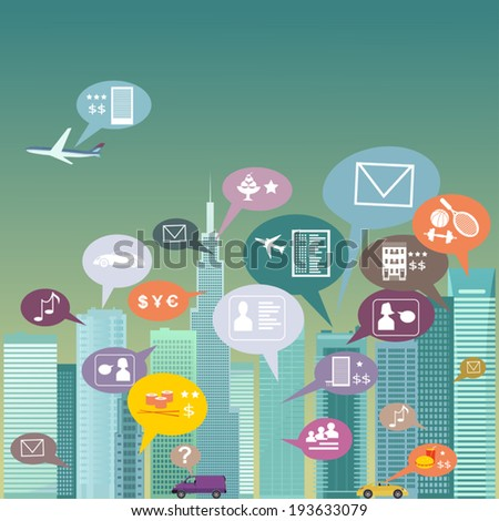 City social network. Urban landscape filled with social network icons, vector illustration, no transparencies  - stock vector