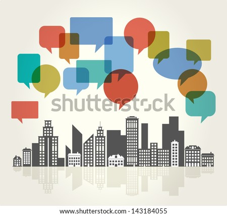 City Speech Bubbles - stock vector