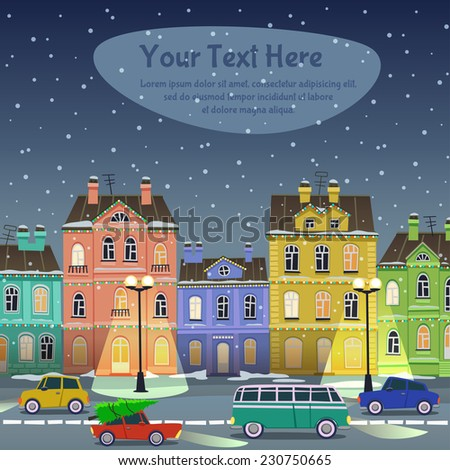City street at Christmas night. Cars and buildings in cartoon style - stock vector