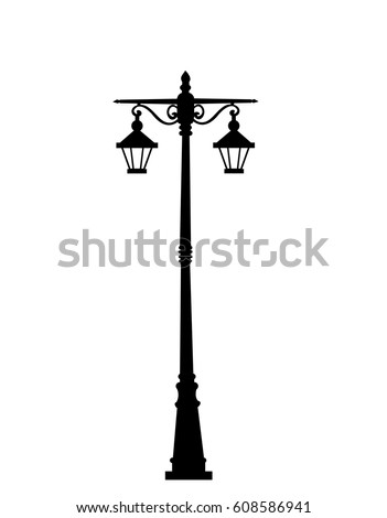City street lantern on white background vector