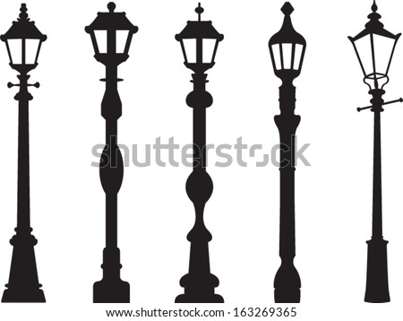 City street lantern set - stock vector