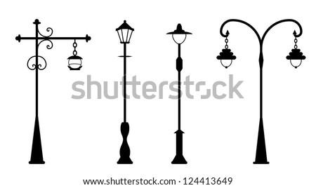 City street lanterns set - stock vector