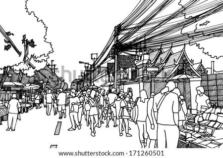 City street : sketchbook vector - stock vector