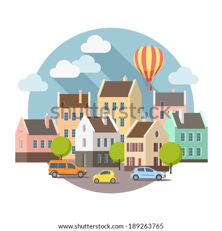 City street with summer - stock vector