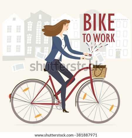 City style business lady riding on a cruiser bicycle. Bike to work poster. Including beautiful european cityscape background. Hand drawn cartoon illustration. - stock vector