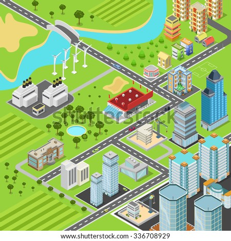 City suburb block streets transport blocks concept. Modern trendy flat 3d isometric infographics. Street buildings cars vans ice cream square park fountain business center park. Build your own world.