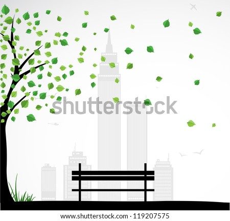 City theme Background with abstract tree. Vector - stock vector