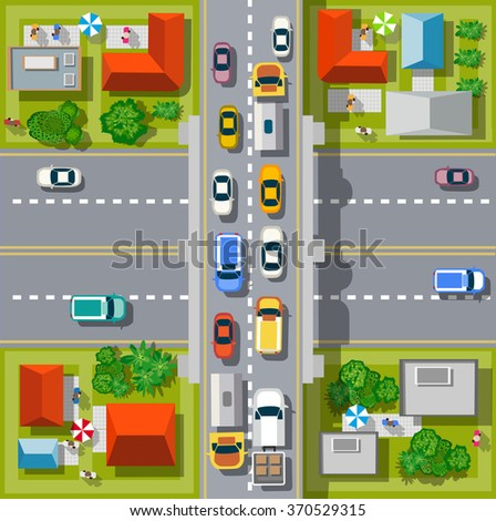 City top view with cars, pedestrians, trees and houses - stock vector
