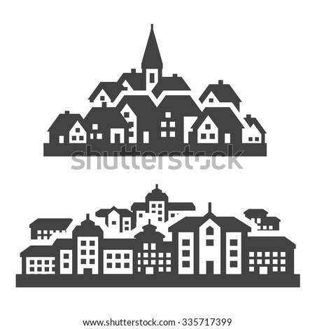 city, town icons set. signs and symbols - stock vector