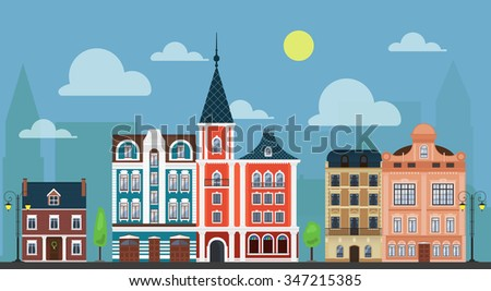 City town. Luxury old fashioned houses and other buildings cityscape. - stock vector