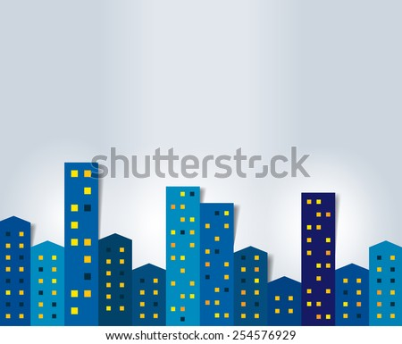 City, town night panorama. Background. - stock vector