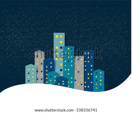 City, town night winter snow panorama. Background. - stock vector
