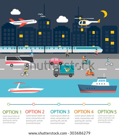 City traffic infographics design elements. With plane, helicopter, train, cyclists, scooter riders, truck, bus, motor boat, vector illustration - stock vector
