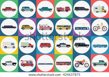 City transport set. taxi bus subway train car bike moped motorcycle truck ambulance. Vector flat illustrations - stock vector