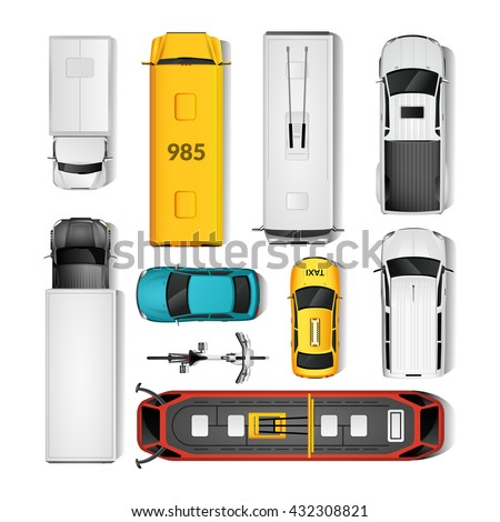 City Transport Top View Icons Set.City Transport Isolated Vector Illustration. City Vehicles Design Set. City Transport Cartoon Decorative Set. - stock vector