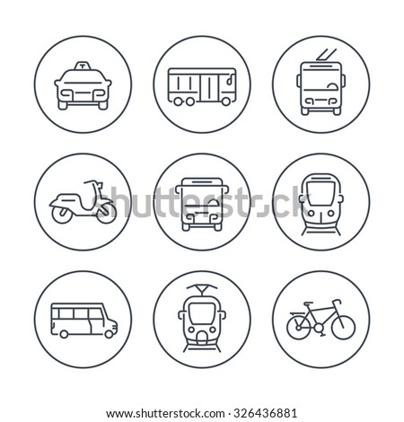 City transport, tram, train, bus, bike, taxi, trolleybus, line icons in circles, vector illustration - stock vector