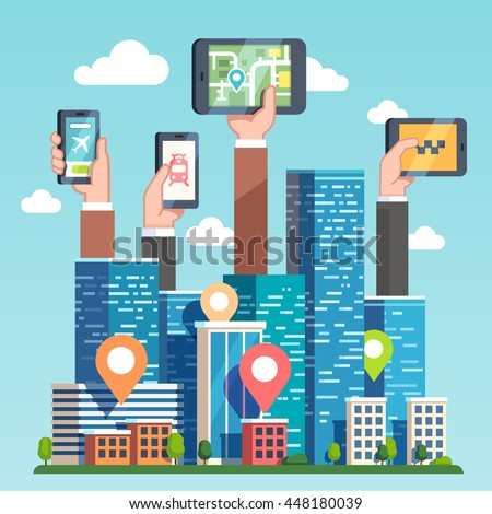City transportation IT infrastructure and cloud computing technology concept. Urban area gps map navigation smart devices, phones and tablets. Skyscrapers and hands. Flat style vector illustration. - stock vector
