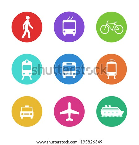 City transportation pictograms: walking pedestrian, taxi cab, train, bus, bicycle, tram, trolleybus, boat, and plane. Set of colorful flat vector icons. - stock vector