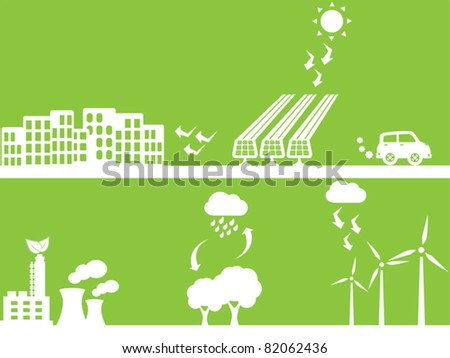 City using renewable energy sources - stock vector