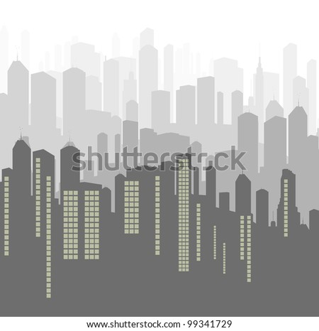 City vector background panorama - stock vector